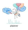 plasterer flying balloons and works with cloud vector image vector image