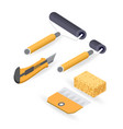 roller cutter isometric construction tools vector image vector image