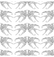 Seamless pattern with ornamental swallow bird vector image