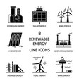 set of renewable energy silhouette icons vector image vector image