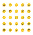 set of yellow emoji speech bubble vector image