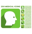 Silent Head Icon and Medical Longshadow Icon Set vector image vector image