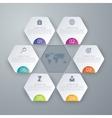 Stock options infographics six hexagons vector image