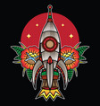 traditional rocket flash tattoo vector image vector image