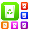 trash bin with recycle symbol set color collection vector image vector image