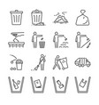 trash line icon set vector image