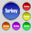 Turkey icon sign Round symbol on bright colourful vector image vector image