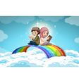 Two muslim reading books over the rainbow vector image