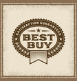 vintage best buy label vector image vector image