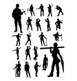 worker builder detail silhouettes vector image