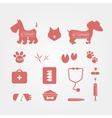 veterinary icons set Pets medicine emblems vector image