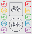 bike icon sign symbol on the Round and square vector image