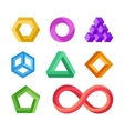 Impossible geometric shapes set vector image