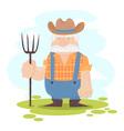 A funny farmer cartoon character vector image