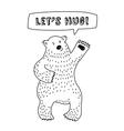Cute animal bear with sign lets hug vector image