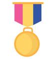 a circular gold medal or color