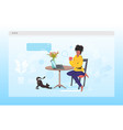 african american woman using laptop remote work vector image vector image