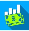 Banknotes Bar Chart Flat Long Shadow Square Icon vector image vector image
