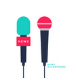bright poster with news microphones and a vector image