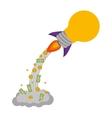 bulb rocket icon vector image vector image