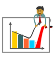 Businessman trying to increase sales figures vector image vector image