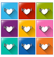 Buttons with hearts vector image vector image