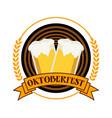 circular oktoberfest festival emblem badge design vector image vector image