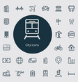 city outline thin flat digital icon set vector image