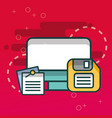 computer and floppy paper notes office vector image vector image