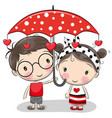 cute boy and girl with umbrella vector image