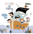 cute cartoon kids pirates sailing in their ship vector image vector image