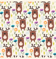 cute childish pattern with deer grass and flowers vector image vector image