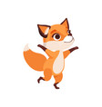 cute happy fox character running funny forest vector image