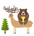 Deer and bear vector image vector image