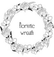 delicate floristic wreath flower design frame vector image