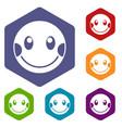embarrassed emoticon icons set vector image vector image