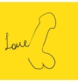 Flat penis icon and Love word hand painted on vector image