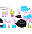 fun quirky background llamas and cactus design for vector image