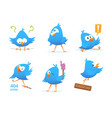 funny characters of blue birds in action poses vector image vector image