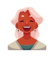 Grey haired old lady laughing facial expression vector image