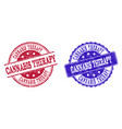 grunge scratched cannabis therapy seal stamps vector image