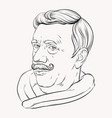 hand drawn old man with moustache vector image vector image