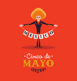 happy cinco de mayo card skeleton mariachi vector image vector image