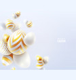 happy easter holiday background with 3d eggs vector image