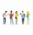 happy students checking their phones - cartoon vector image vector image