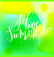 i love summer hand lettering vector image