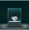 jewel diamond in a glass cube vector image