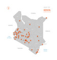 kenya map with administrative divisions vector image