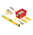 level gloves spatula mortar isometric vector image vector image