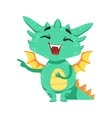 Little Anime Style Baby Dragon Laughing And vector image
